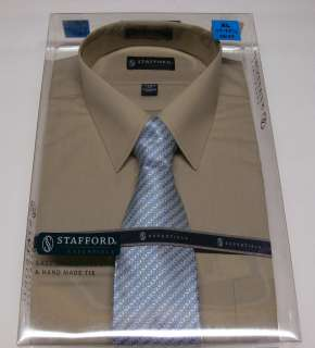 Stafford Mens Shirt/Tie Gift Box Set Khaki Dress Shirt Patterned Tie