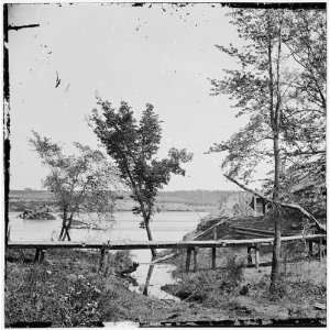 Civil War Reprint Drewrys Bluff, Virginia. View of Confederate Fort