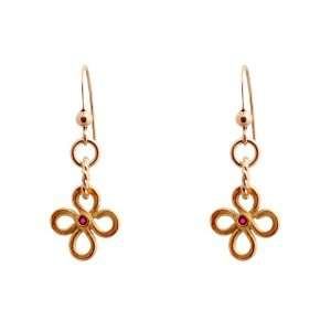 Gold Vermeil Four Leaf Clover Earrings with Rubies Efy Tal Jewelry