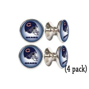 Chicago Bears NFL Stainless Steel Cabinet Knobs / Drawer Pulls (4 pack
