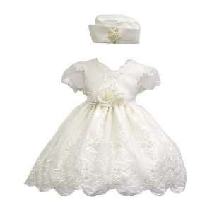 Elegant Baby Girl Ivory White Dress & Hat. Available in 12