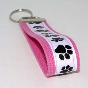 White Black Paw Prints 5   Pink   Keychain Key Fob Ring