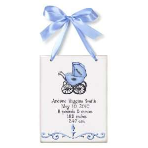 Birth Certificate Hand Painted Tile   Boy Buggy Toys