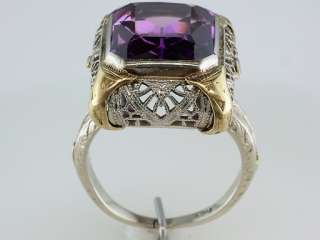 Antique 4ct Amethyst 14K White & Yellow Gold Art Deco Engagement Ring