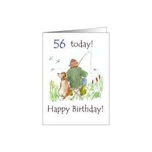 56th Birthday Card with a Man Fishing Card Toys & Games