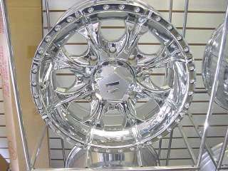 HELO 18x9 CHROME 8 LUG CHEVY FORD DODGE f150 WHEELS JEEP WRANGLER