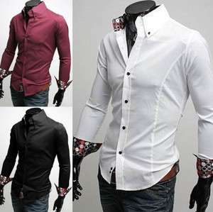 Mens Casual Slim fit Stylish Dress Shirt M L XL XXL 3Colors E34