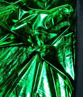 SPANDEX LYCRA STRETCH FOIL FABRIC GREEN 58 BY THE YARD