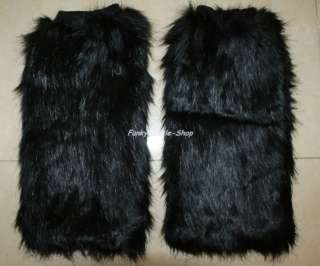 Black faux fur leg warmer dancer boot covers club LW30