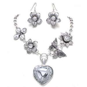 Statement Necklace and Earrings Set Chic Vintage Style Fashion Jewelry