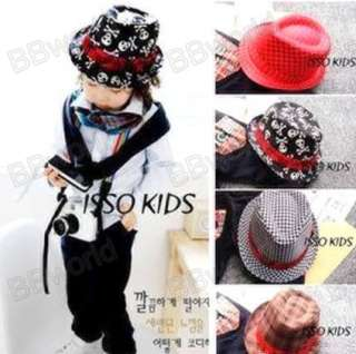 Kids Children Toddler Baby boys girls Fedora Skull Red Tan Black