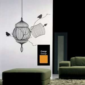 Free Birds Bird Cage Wall Decal  Actual Color Orange