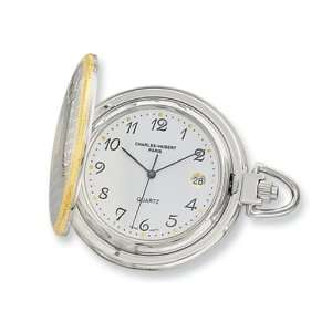Hubert 14k Gold plated Two tone White Dial Pocket Watch Jewelry