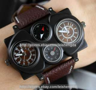 Dual Cores TWO Time zoneMilitary Army Sports Pilot Captain Mens