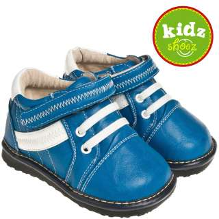 Boys Kids Infant Toddler Leather Squeaky Shoes   Blue with White