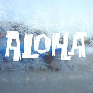 Aloha White Decal Car Window Laptop Vinyl White Sticker