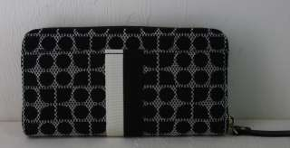 NWT KATE SPADE NEDA CLASSIC NOEL ZIP AROUND WALLET BLACK & WHITE NEW $
