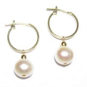 AAA 8 9MM Genuine White Pearl 14K Yellow Gold Hoop Earrings
