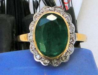 14 CT SOLID GOLD EMERALD DIAMOND RING JEWELRY