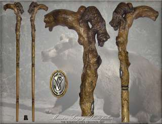 TOP ART AUTHORS GRIZZLY BEAR HANDLE CARVED OAK WOOD WALKING STICK CANE