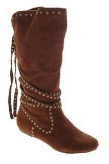 Not Rated NEW Embellished Metal Shop Womens Mid Calf Boots Brown Faux