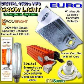 DIGITAL 1000 watt HPS GROW LIGHT 1000w AIR COOLED HOOD