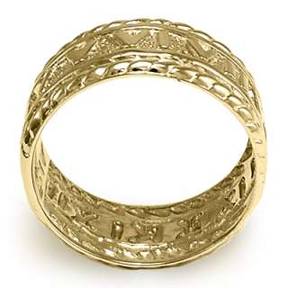 Mens 14k Solid Yellow Gold Roman Design Ring