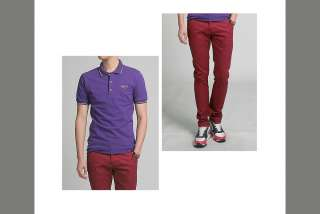 Bros Mens Slim Skinny Cotton Pants Jeans Red 28,30,32