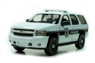 2008 CHEVY TAHOE POLICE CAR SUV 1/24 WHITE W/ BLACK