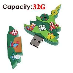 32G Christmas Tree Shaped Rubber USB Flash Drive (Large