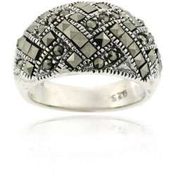 Sterling Silver Marcasite Criss cross Ring