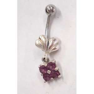 Four Purple Gems Encrusted Silver Belly Ring