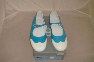 NIB AUTH CHANEL BLUE WHITE MARY JANE FLATS SLIPPERS 40