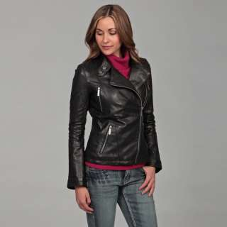 MICHAEL Michael Kors Womens Black Leather Asymmetrical Zipper Jacket