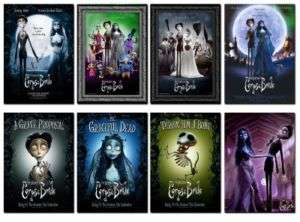 Corpse Bride Poster Movie Fridge Magnets set 8 pcs