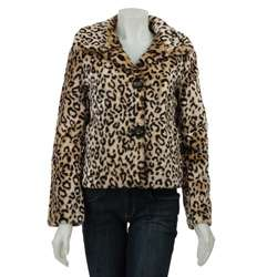 Coffee Shop Womens Leopard Print Faux Fur Coat