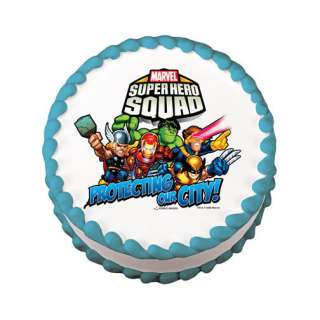 Custom SUPER HERO SQUAD Theme Edible Cake Topper Image