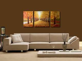 Huge 3 Panel Modern Landscape Tree Wall Art Oil Painting Kx09