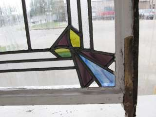 Very Large set 3 Art Deco Antique Stained Glass Windows