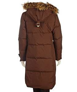 Michael Kors Long Down Jacket with Fur Trim Hood