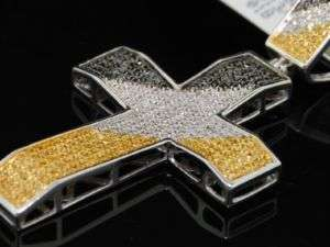 MENS WHITE GOLD YELLOW DIAMOND CROSS PENDANT PAVE CHARM