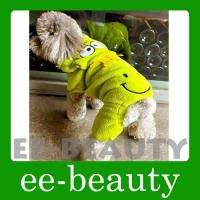 Lovely Green Crown Frog Fleece Dog Pet Clothes Apparel Jumpsuit