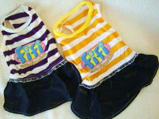 Dog Clothes Dress PURPLE YELLOW size XS S M