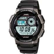 Casio Mens Calendar Day/Date Watch w/Round Digital Dial and Black