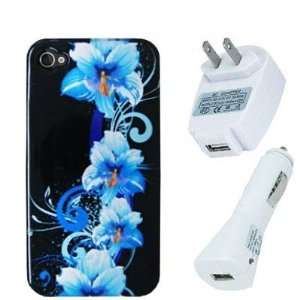 Blue Flowers Design Crystal Hard Skin Case Cover + Car Vehicle + Home