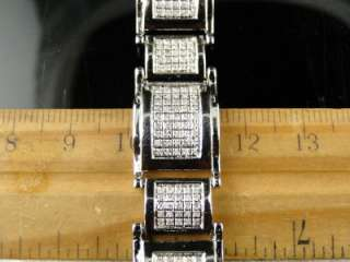 MENS WHITE GOLD FINISH DIAMOND BRACELET LINK 2.50 CT