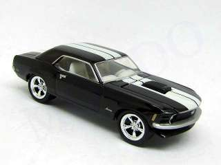 WHEELS 1970 BLACK FORD MUSTANG COUPE W/ WHITE RACING STRIPES