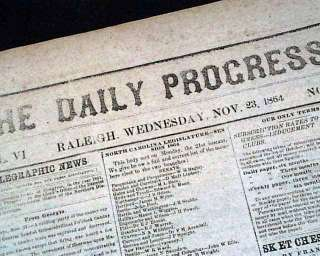 Message in 1864 CONFEDERATE North Carolina Civil War Newspaper