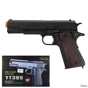 1911 WWII Spring Action METAL Black Die Cast Airsoft Pistol Gun