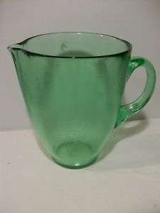 Green Depression Glass Water/ Tea Pitcher